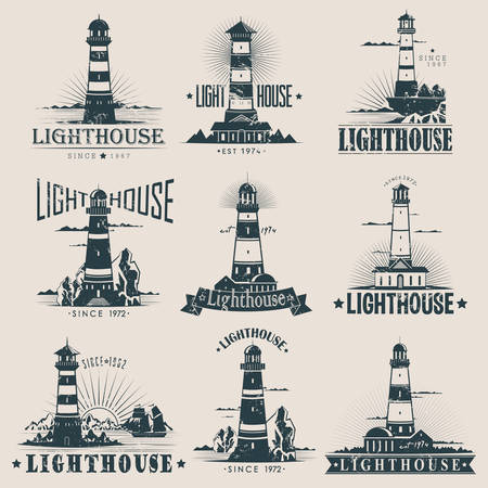 Isolated lighthouse sketches near rocks and reefs, sea and ocean, buildings near ships or fregate. Guidance structure at port or harbor. Nautical hazard banner or marine sign, sailor and travel logo Çizim