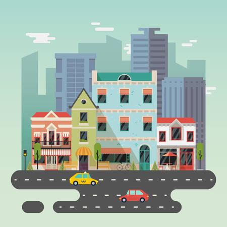 Paysage de ville ou de la ville avec des bâtiments Vecteurs
