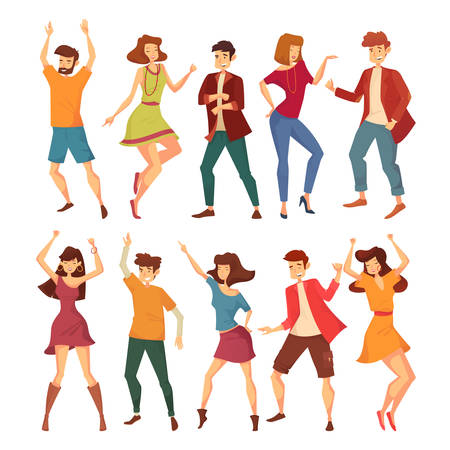 Set of isolated dancing men and women Illustration