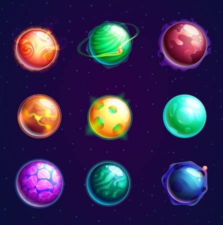 Set of isolated cartoon planets with satellites