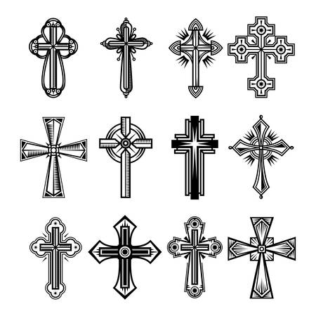 Set of isolated christian and catholicism crosses. 矢量图像