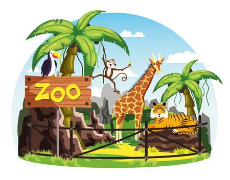 Giraffe and monkey, tiger and toucan at zoo Illusztráció