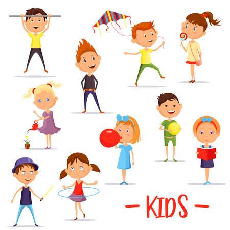 고립 된 어린이 또는 아이들의 활동 세트 일러스트