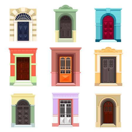 Set of isolated outdoor view on doors Illustration