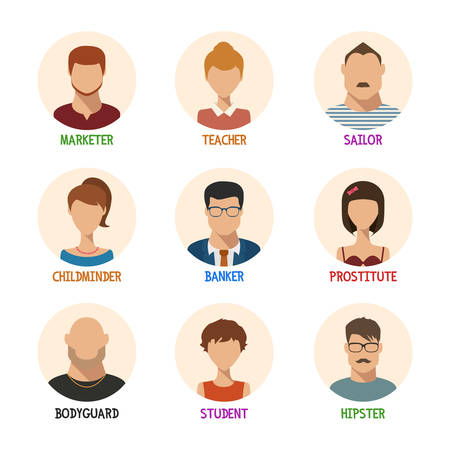 Set of isolated faces for different professions