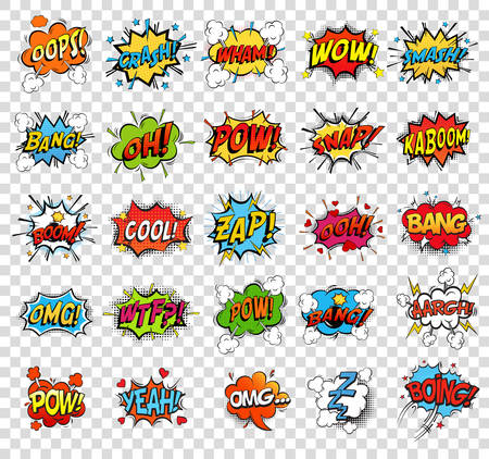 Comic speech bubbles or sound replicas Stock Illustratie