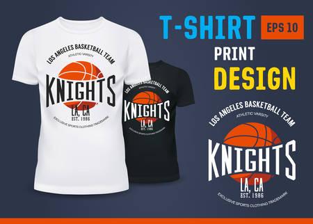 T-shirt with branding of basketball knight team. Ilustração