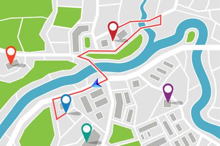 Carte avec itinéraire et pointeurs GPS.