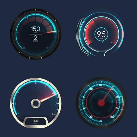 Analog speedometer or gauge.