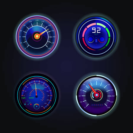 Isolated speedometers or gauges for speed.