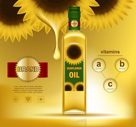 Oil liquid in bottle with sunflowers on top