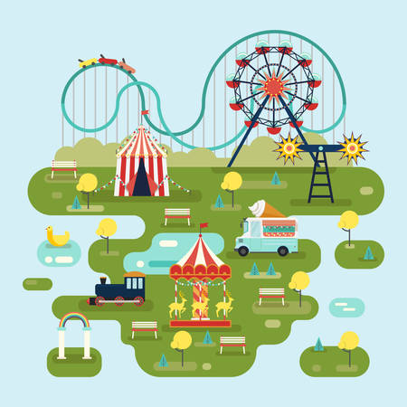 Circus met attracties of kaart van het pretpark Stock Illustratie