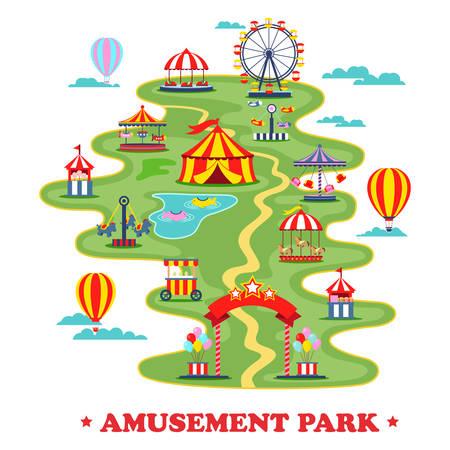 Mapa del parque de diversiones o circo con atracciones