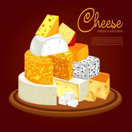 各種スライス チーズのプレート  イラスト・ベクター素材