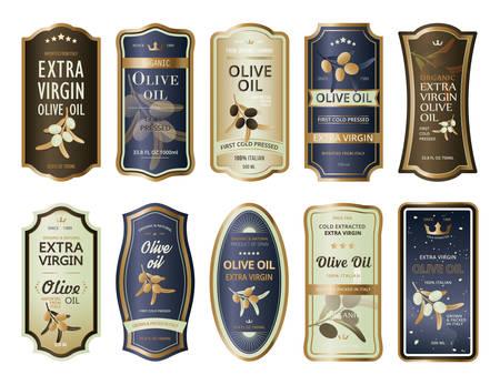 étiquettes autocollantes ou autocollants pour bouteilles d & # 39 ; huile d & # 39 Vecteurs
