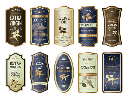 Sticky labels or stickers for olive oil bottles