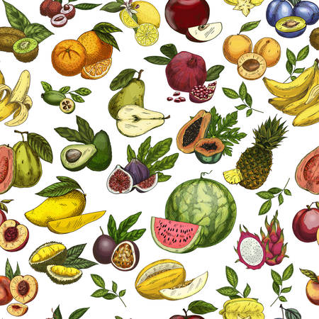 Fruits as seamless pattern background