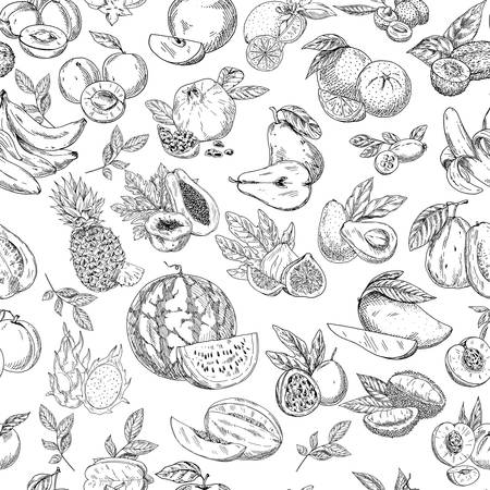 Seamless pattern background of sketched fruits Illustration