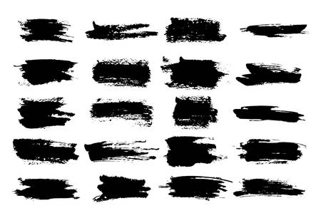 Brush watercolor or horizontal, linear black ink scratches, stroke or highlighter for stamp on white background. Ilustração