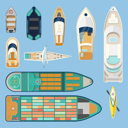 Set of isolated boats top view. Sea or ocean transport. Water vehicle or vessel for travel or tourism. Container transportation or cargo shipping via sailboat or motorboat, freighter. Travel theme