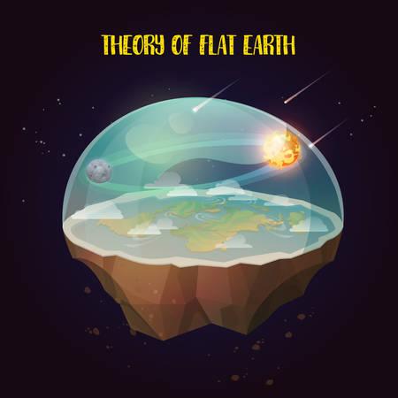 Terre plate avec nature paysage, atmosphère avec les comètes, soleil et lune. Ancienne croyance dans le globe plan sous forme de disque. Cosmologie et pseudoscience, science ancienne et terre-plate, thème du complot