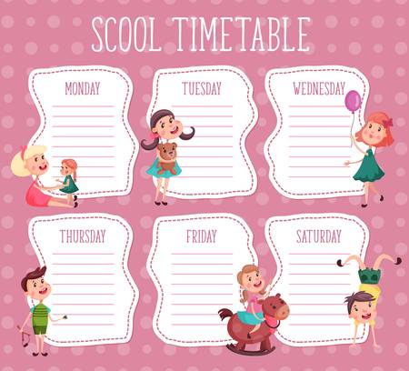 Design Template for school timetable Çizim
