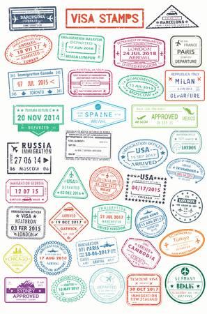 海外旅行のためのパスポートスタンプまたはビザページ  イラスト・ベクター素材