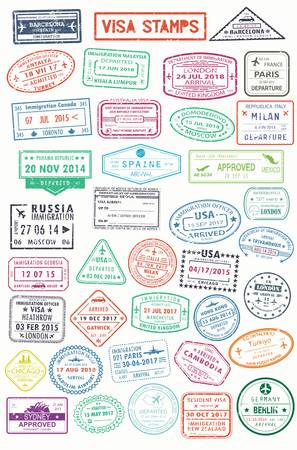 Passport stamps or visa pages for traveling abroad Standard-Bild - 90471226