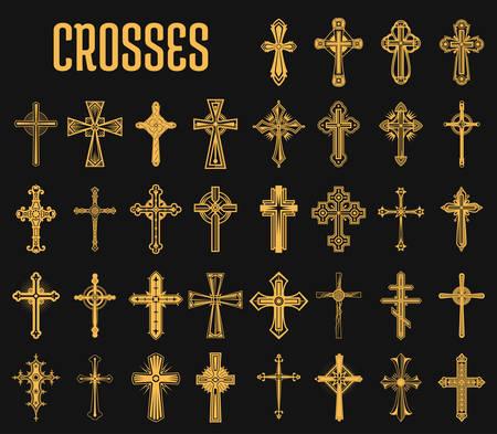 Set di croci isolate della religione cristiana Archivio Fotografico - 90471245