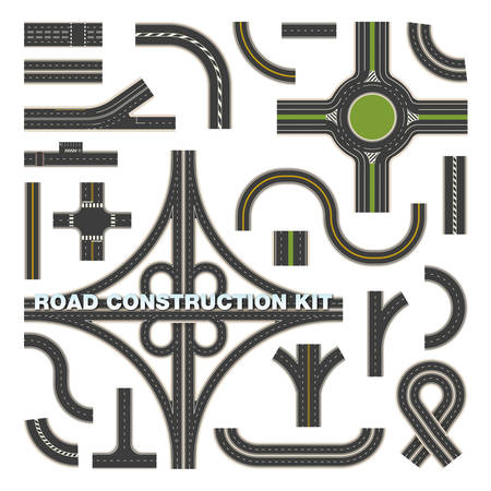 Top view on road parts for construction kit Illustration