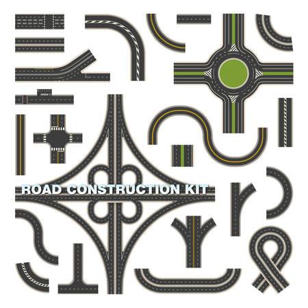 Bovenaanzicht op wegonderdelen voor bouwpakket