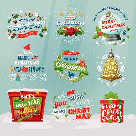 New year 2018 and christmas items for winter holiday Illustration