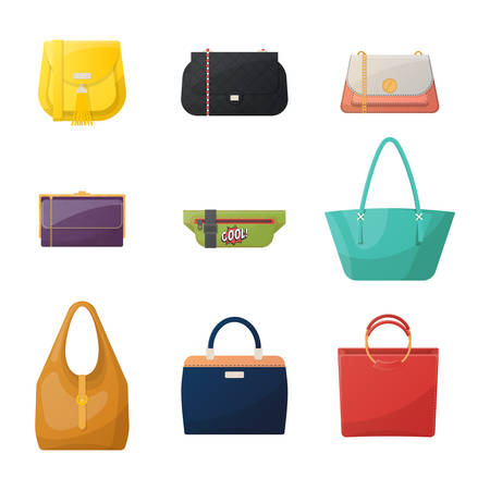 Women fashionable bag icons. 向量圖像