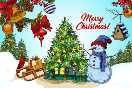 Outside view on snowman near fir tree on snow, sledges with gifts and branches with stars and decorations. 2018 new year and merry christmas postcard or banner. Holiday greeting, winter theme