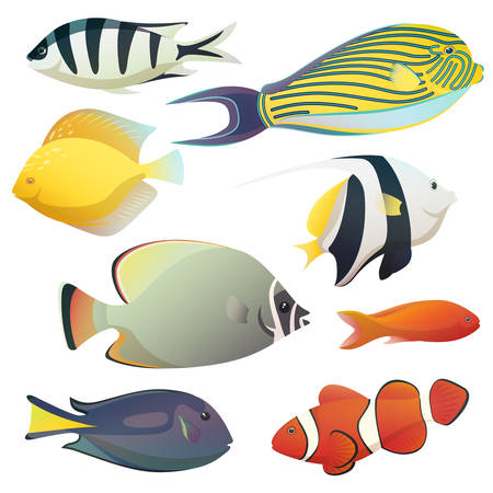 Underwater golden fishes and tiny sea fauna illustration.