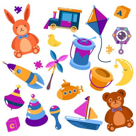 Kids isolated toys illustration. Illustration