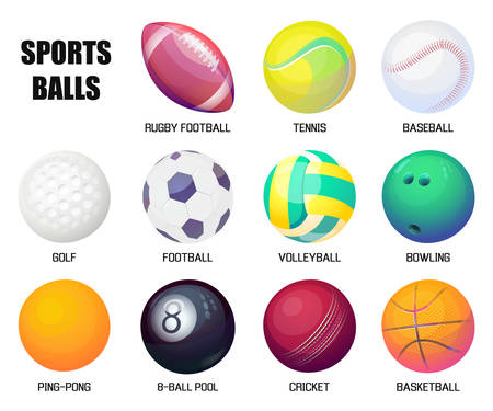Balls for rugby and baseball, basketball and soccer illustration.