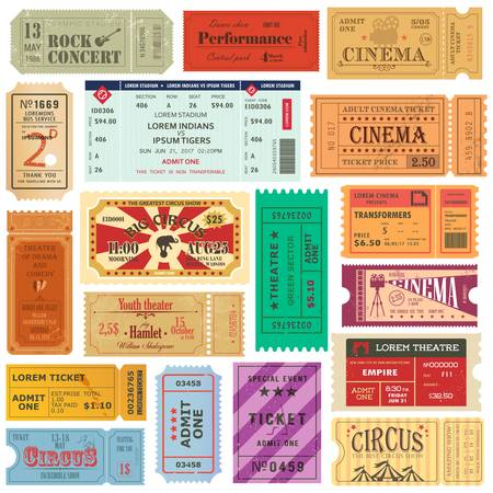 Set of old isolated tickets for cinema or theater.