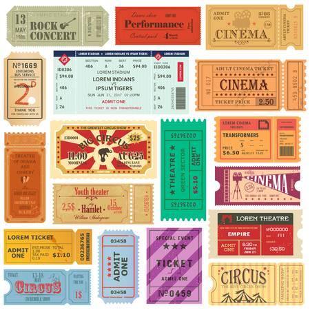 Set von alten isolierten Tickets für Kino oder Theater