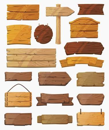 Set van geïsoleerde wijzers tekenen of houten planken.