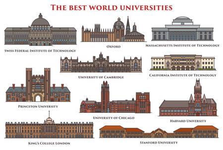 孤立した建物や大学のセット。
