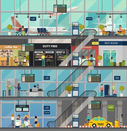 Airport building structure with rooms and people. Stock Illustratie
