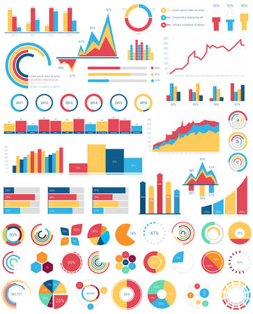 Set for infographics various design elements with bar or circle, area filling or pie, linear charts and step diagram for statistic document or report. Visualization poster template for analytics.