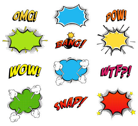 Comics bubbles for emotions and explosions. Exclamations clouds for wow and omg, wtf and snap, bomb bang or boom explosion. Great for cartoon book or danger, pop dialog and burst theme.