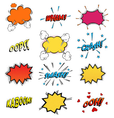 Onomatopoeia comics sounds in clouds for emotions and kaboom explosion. Steaming oops and wham sound, heart for ooh and stars for smash and crash cartoon book theme. Ilustração