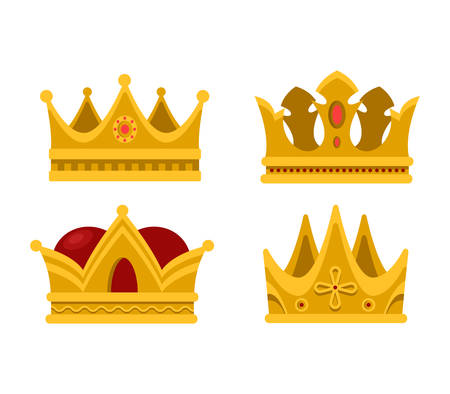 Set of emperor or king shiny golden crown or pope tiara. Monarch heraldic sign or vintage blinking diadem icon design. Royalty or luxury, antique or game award, coronation or heraldry theme
