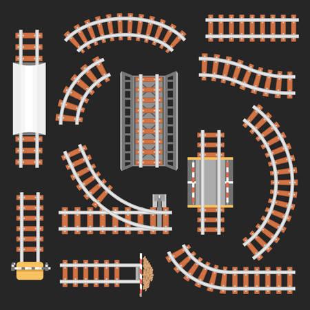 Rail or railroad, railway top view. Illusztráció