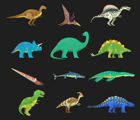 Set of isolated cartoon dinosaur or Dino.