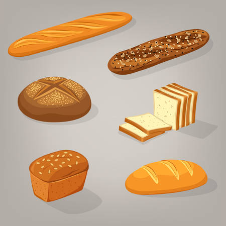 Baguette and bricks of toast or butterbrot bread.