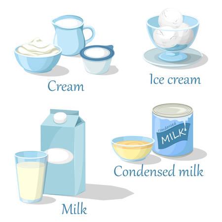 Ice cream and cream, condensed milk or kefir. Illustration